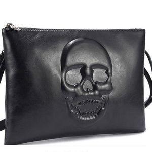 NEW Leather Skull Envelope Clutch Shoulder Bag